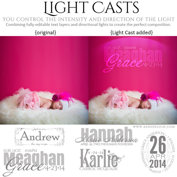 Digital Props for Photographers | Light Casts Babies full set