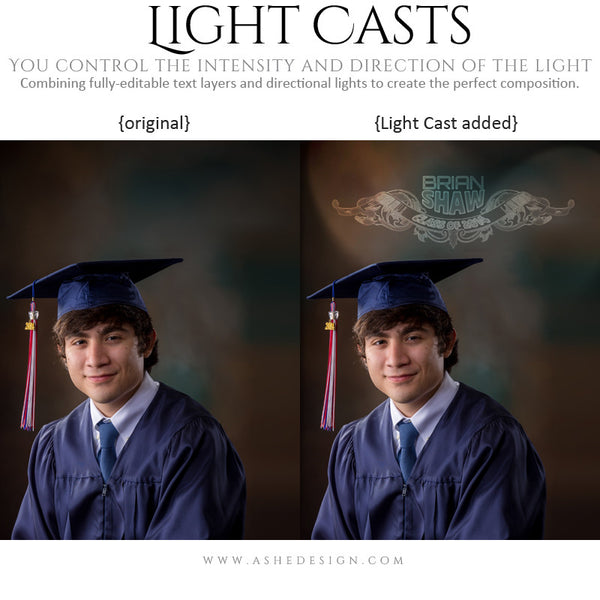 Digital Props for Photographers | Light Casts Senior Scrolls example1