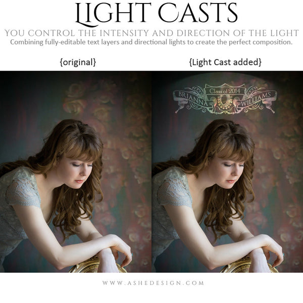 Digital Props for Photographers | Light Casts Senior Scrolls example 2