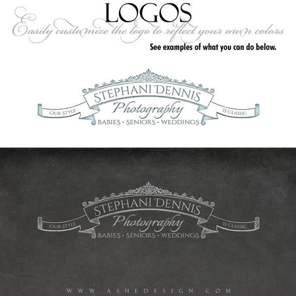 Chalkboard Scroll Logo examples web display