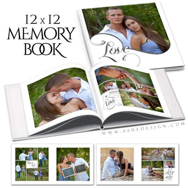 Photo Book Template 12x12 | Simply Worded Love open book