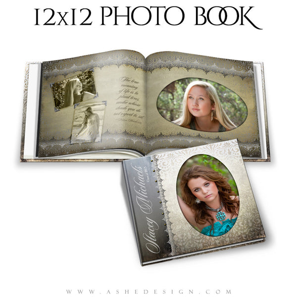 Photo Book Template 12x12 | Antique Damask cover