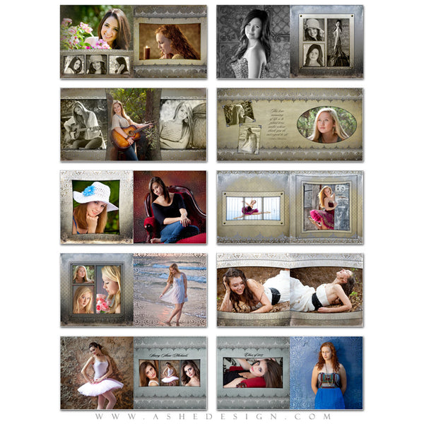 Photo Book Template 12x12 | Antique Damask pages