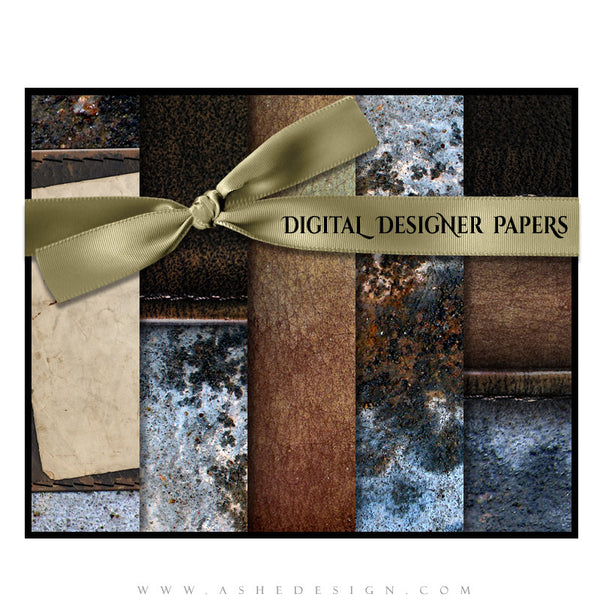 Digital Designer Papers | Leather Stitched set