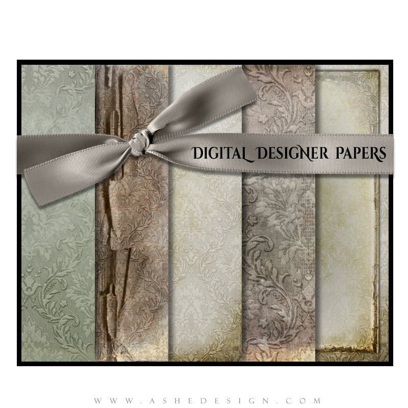 Weathered Damask papers full set