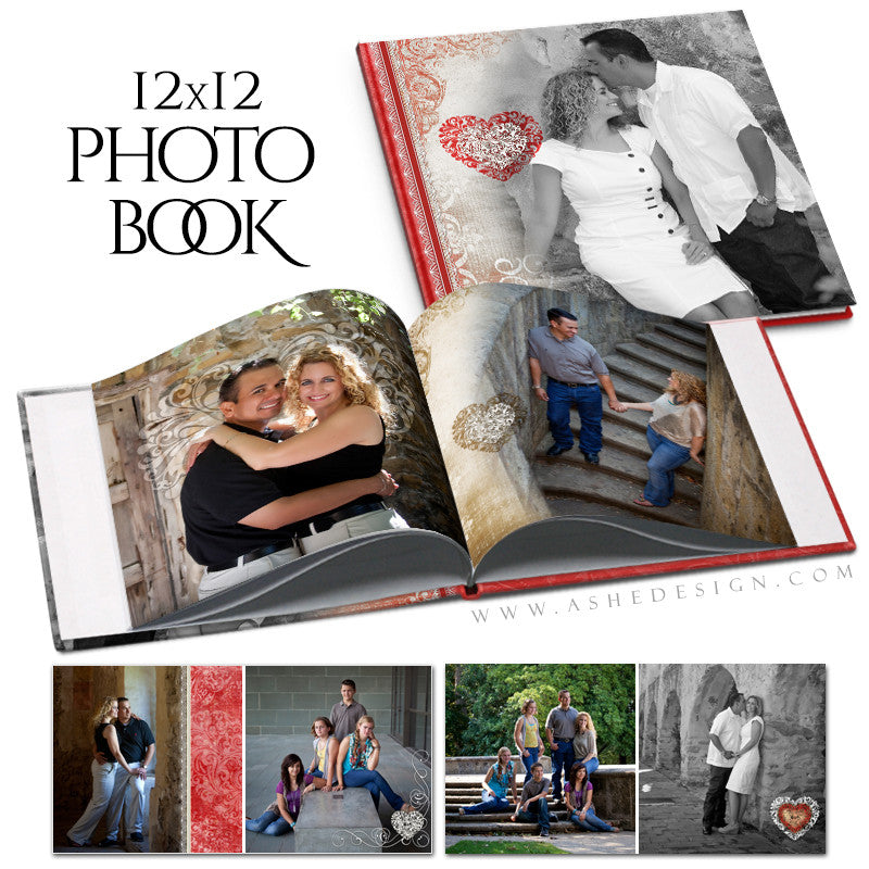 Photo Book 12x12 Template | Amour open book
