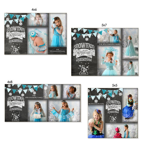 Christmas Photo Card Templates | Chalkboard Snowmen