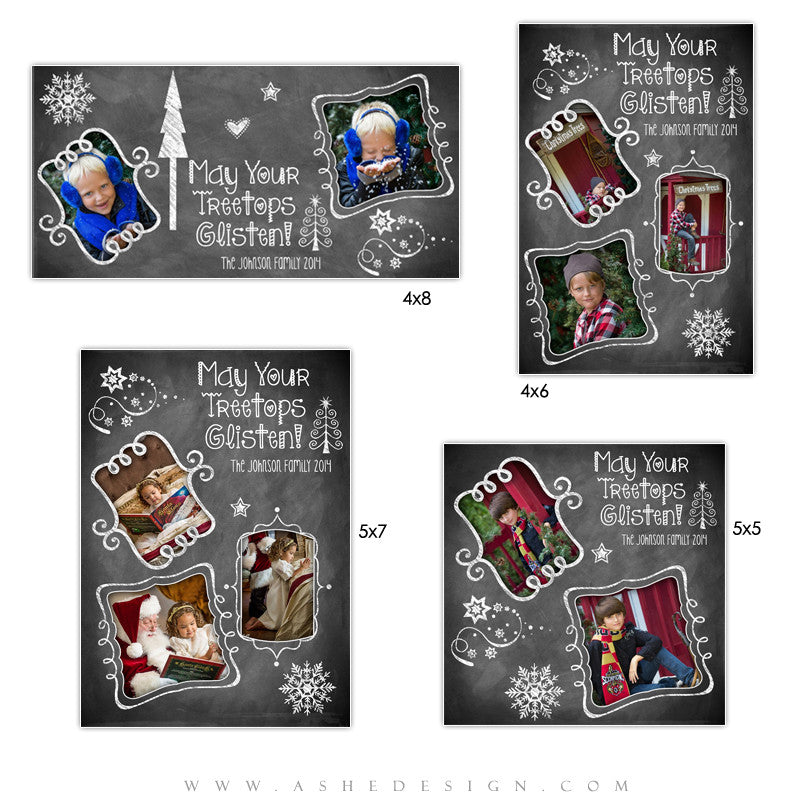 Christmas Photo Card Templates | Chalkboard Doodle Frames