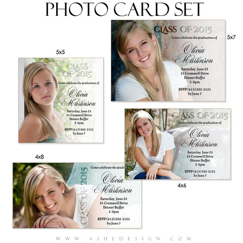 Senior Girl Graduation Invitation Photo Cards | Faded