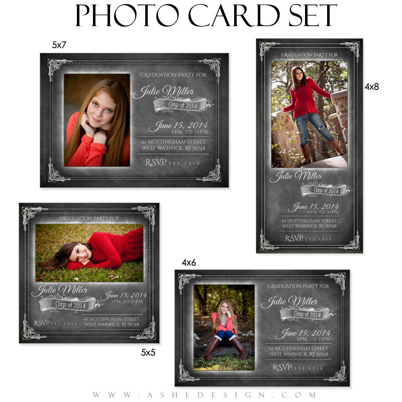Chalkboard Senior Girl 2014 Photo Cards full set web display