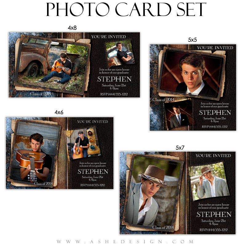 Leather Stitched Graduation Photo Card Templates for Photographers