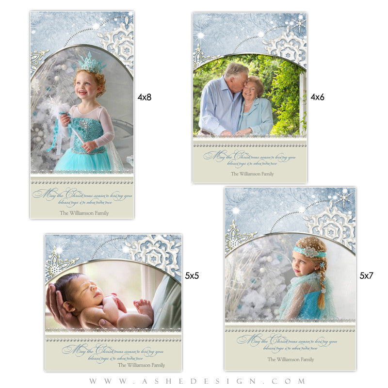 Christmas Photo Card Templates | Snow Dust Pearl