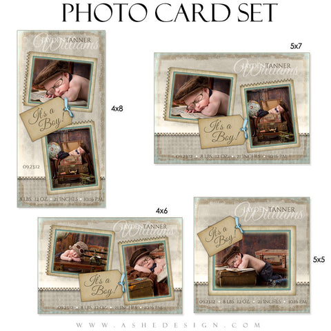 Birth Announcement Photo Card Set - A Stitch In Time (Boy)