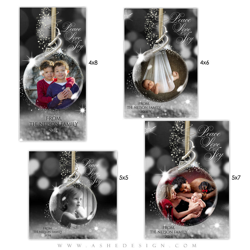 Christmas Photo Card Templates | Star Dust Glass Ornament