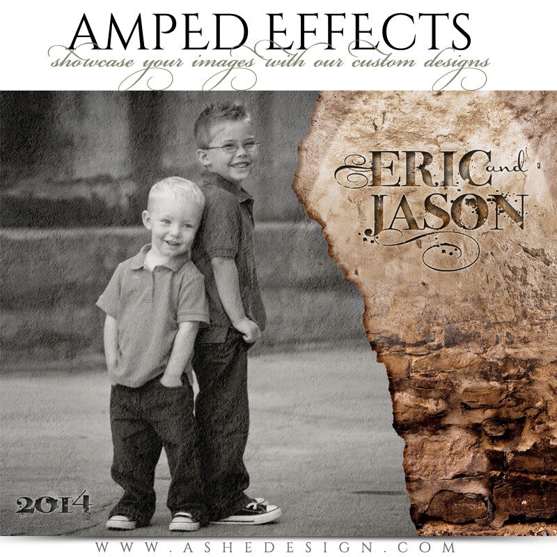 Ashe Design | Amped Effects Photography Templates | Stone WallChildren Session Photography Template