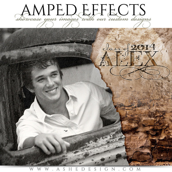Ashe Design | Amped Effects Senior Templates | Stone Wall Senior Session Photography Template