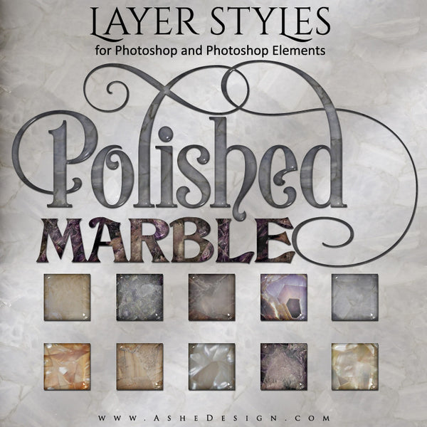 Layer Styles - Polished Marble full set web display