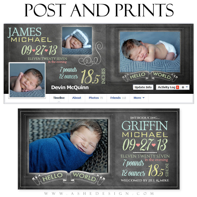 Post & Print Set - Chalkboard Babies web display