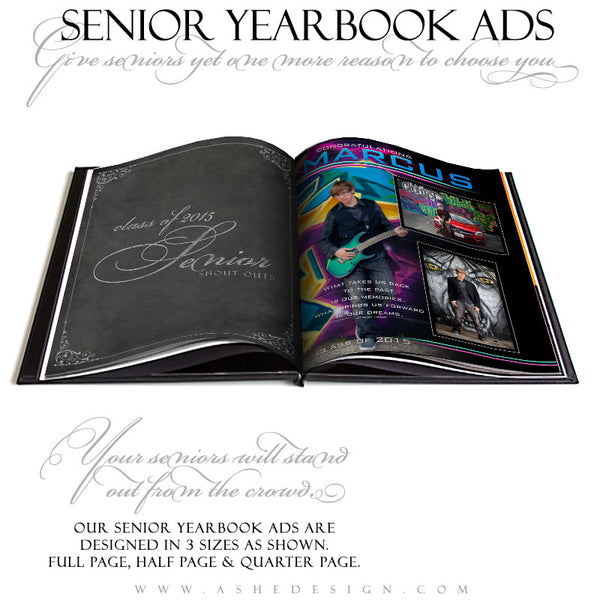 Senior Yearbook Ads for Photoshop | Streak Of Light open book