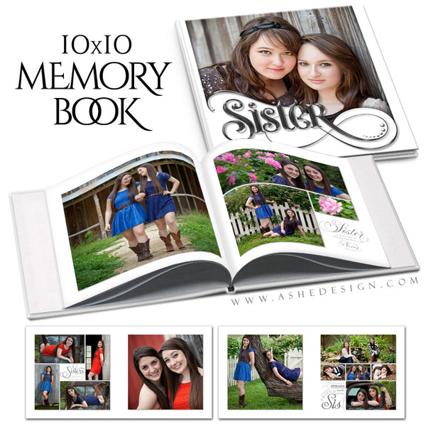 Simply Worded Sister - 10x10 P BK open book web display