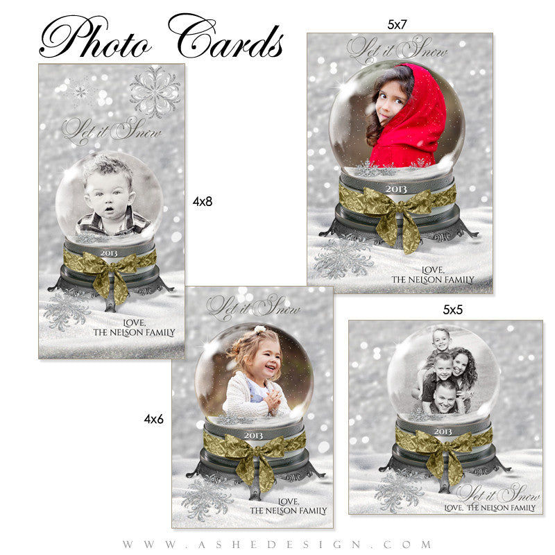 Snow Globe - Let It Snow Photo Card Set full set web display