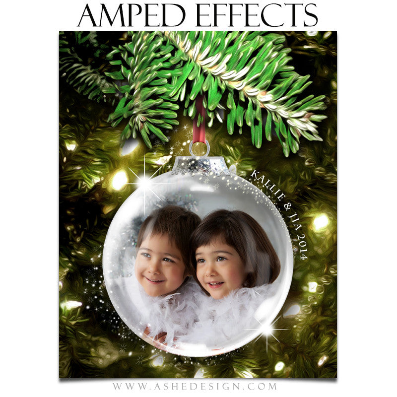 Ashe Design | Amped Effects Photography Templates | Star Dust Glass Ornament 1
