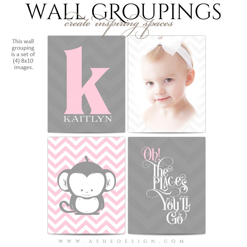 Wall Groupings Children Photography Templates | Chevron Baby full set
