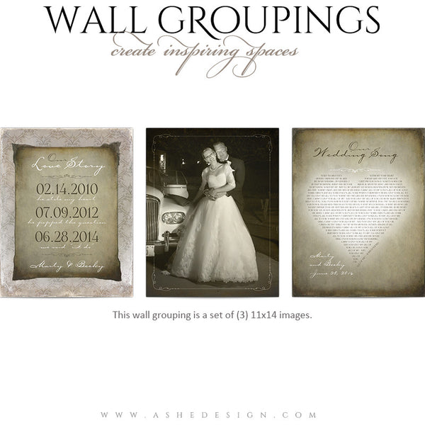 Ashe Design | Wall Groupings Weddings Photography Templates | Our Love Story full set