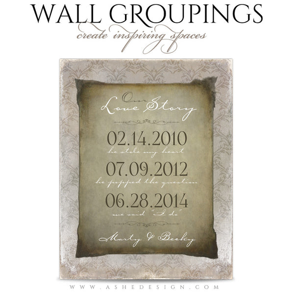 Ashe Design | Wall Groupings Weddings Photography Templates | Our Love Story1