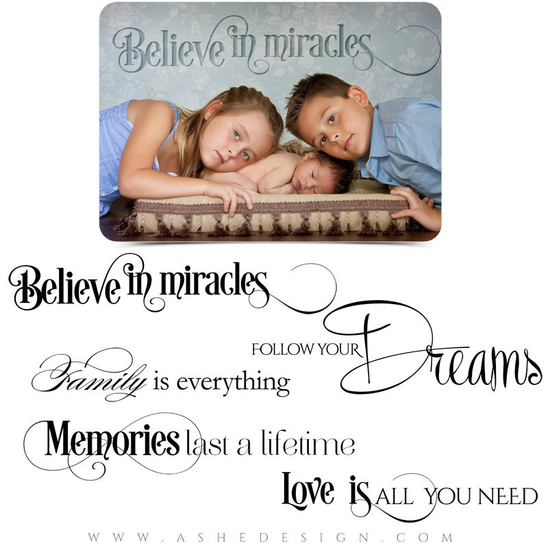 Word Art Collection Follow Your Dreams full set web display