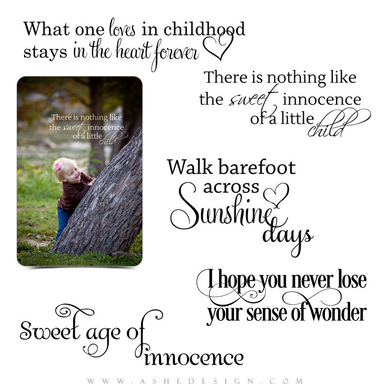 Word Art for Photographers | Sweet Age of Innocence