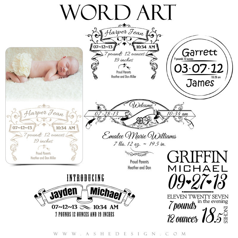 Baby Scrolls Word Art full set web display
