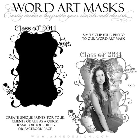 Word Art Layer Masks Class Of 2014 web display