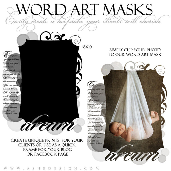 Word Art Layer Masks - Dream Little One example 1 web display