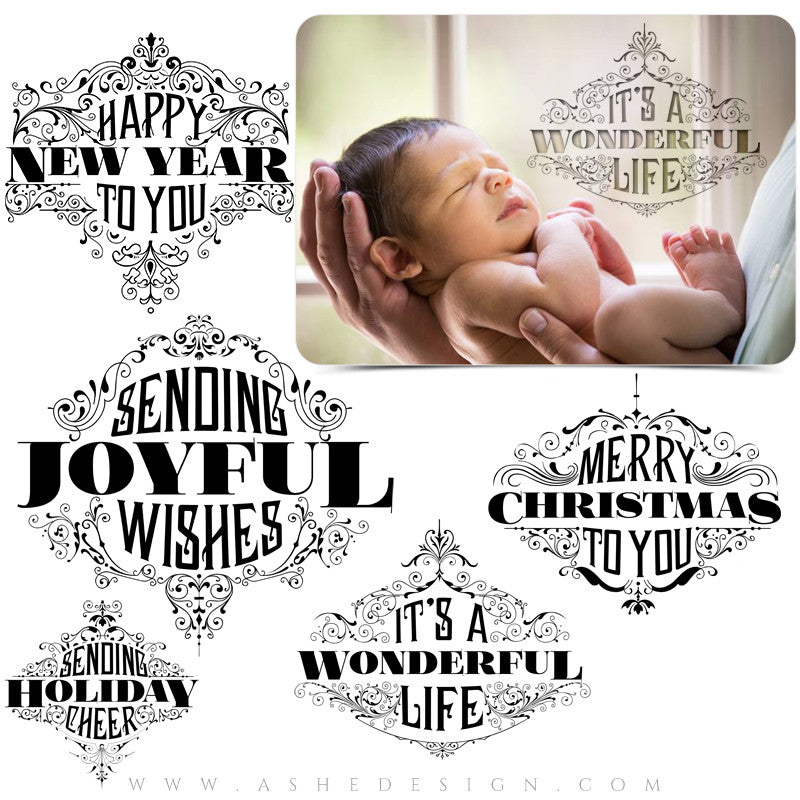 Photoshop Christmas Word Art | Ornate Holiday Greetings