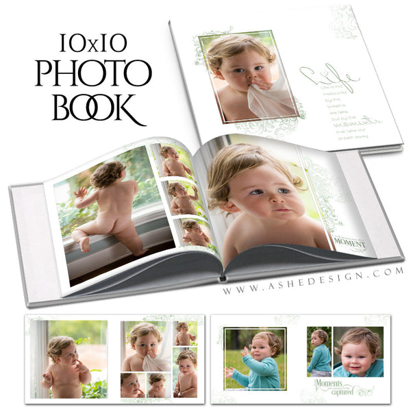 Square Photo Book Template | Color Block open book