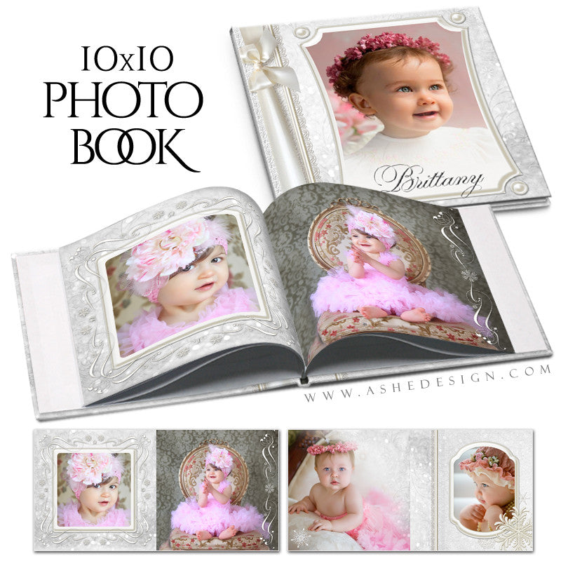 Ashe Design | 10x10 Photo Book Templates Cover | Snow Babies