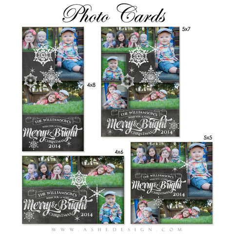 Christmas Photo Card Set - Chalkboard Merry & Bright