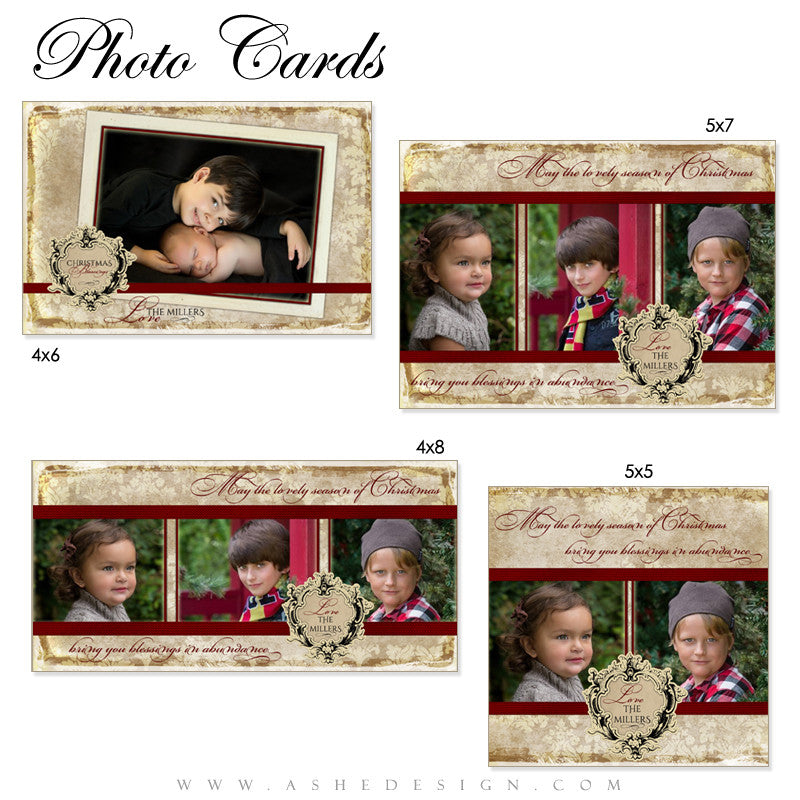 Vintage Holiday Photo Card Templates