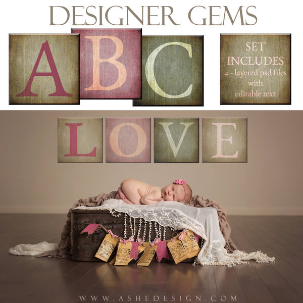 Designer Gems | 12x12 Wooden Alphabet Blocks