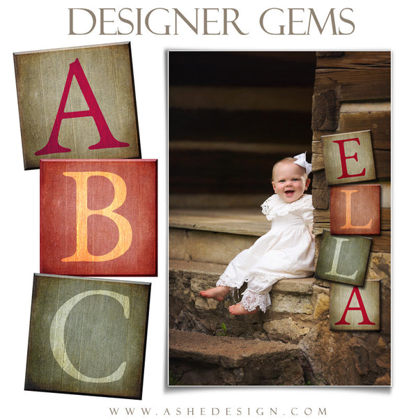 Customizable Designer Gems 12x12 | Wooden Alphabet Blocks example