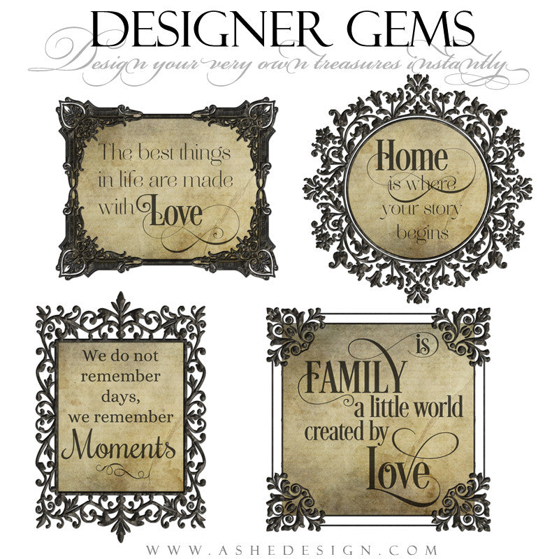 Designer Gems - Word Art Frames for Photoshop