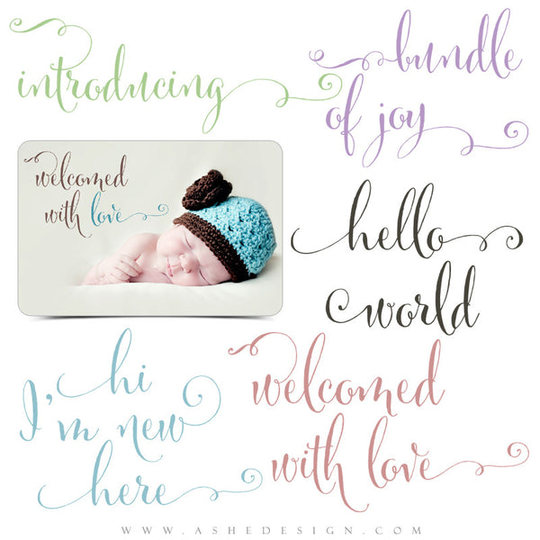 Ashe Design | Newborn Photoshop Word Art | Hello World full set