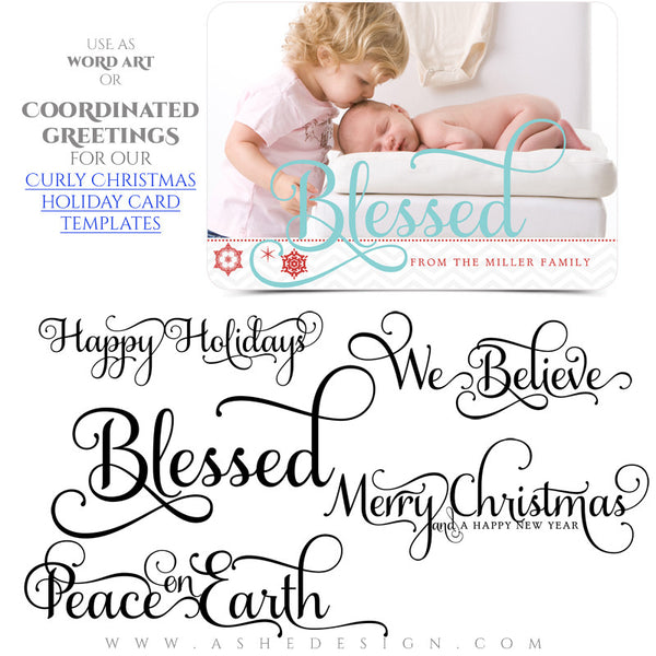 Christmas Word Art Collection - Curly Holiday Greetings