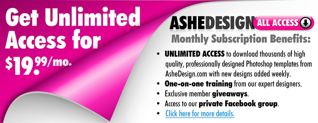 Ashe Design All Access Unlimited Photoshop templates