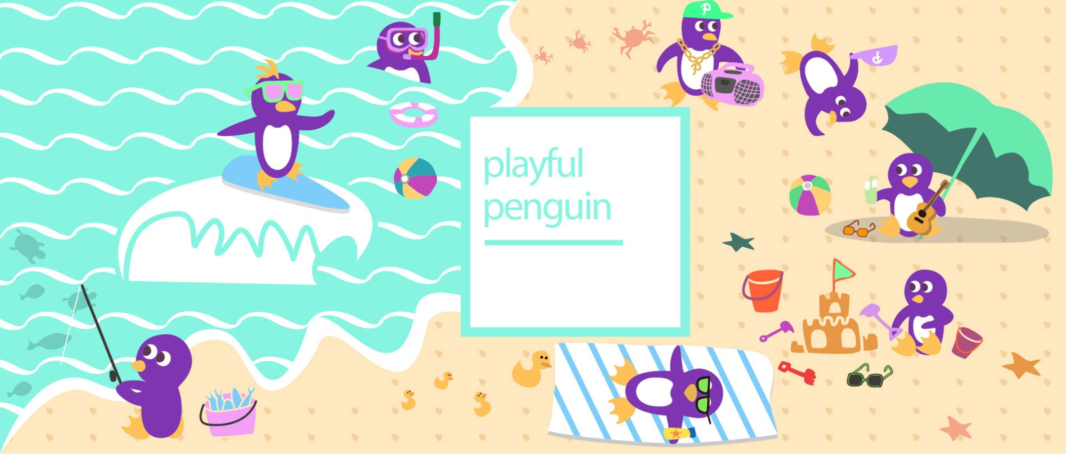 Playful Penguin Toy Storage Box Fun Drawing