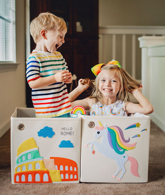 kids are happier with our colorful toy storage box