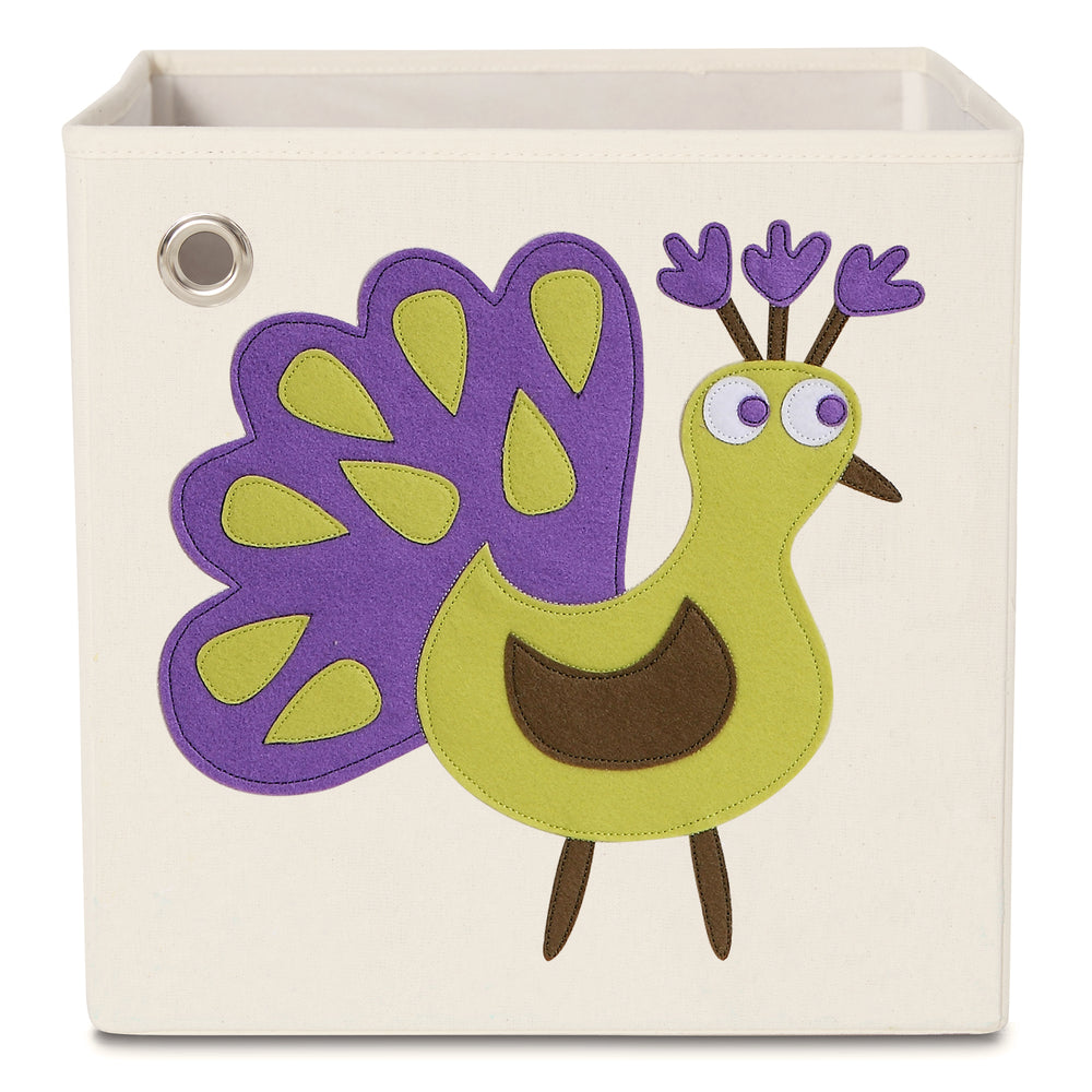 Beautiful Peacock Kids Canvas Toy Box - Main Image