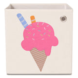 "Strawberry Ice Cream 13"" Canvas Toy Storage Bin"