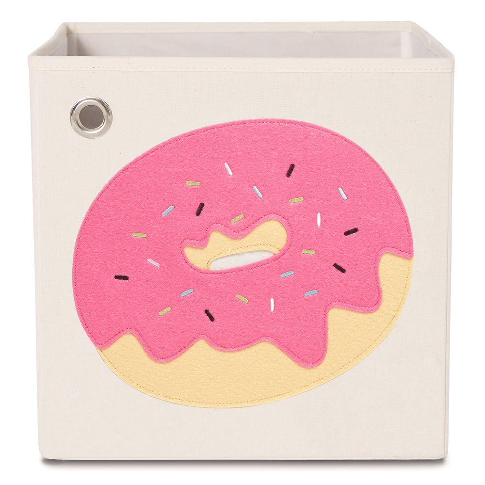 Sprinkled Pink Donut, Canvas Storage Box